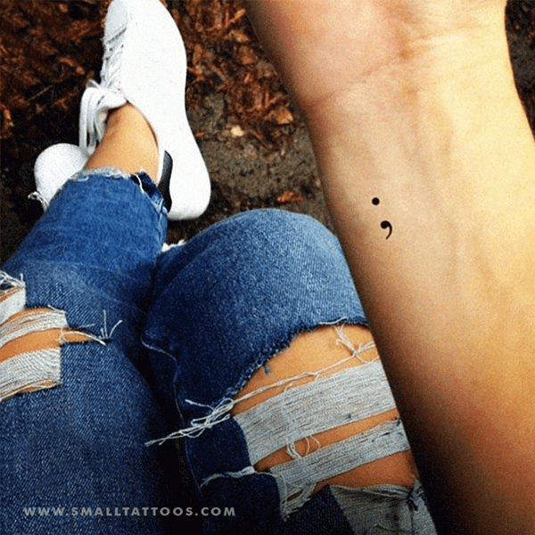 Small Semicolon Temporary Tattoo (Set of 3)