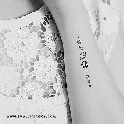 Fine Line Solar System Temporary Tattoo (Set of 3)