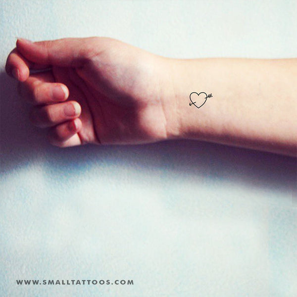 Heart And Arrow Temporary Tattoo (Set of 3)