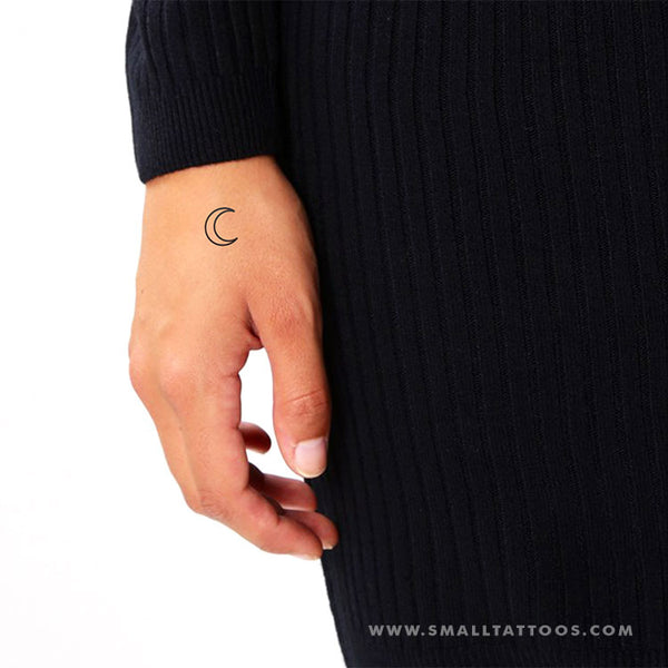 Crescent Moon Outline Temporary Tattoo (Set of 3)