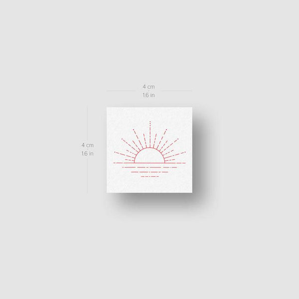 Sunset [Red] by Jakenowicz Temporary Tattoo - Set of 3