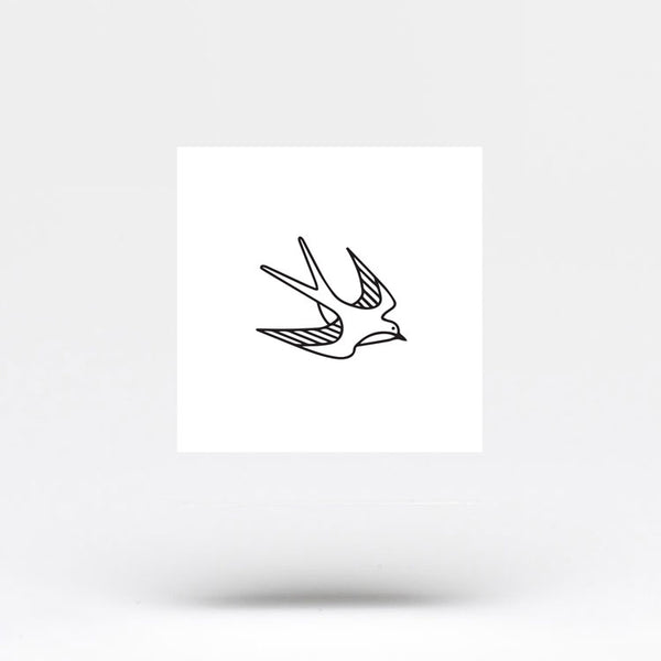 Small Swallow Outline Temporary Tattoo (Set of 3)
