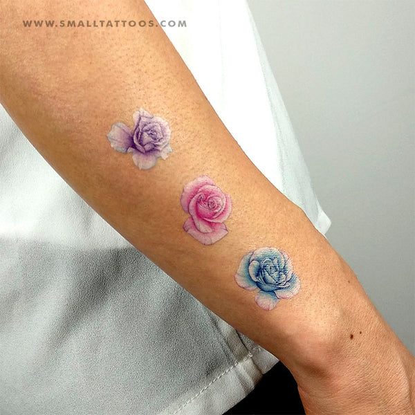 Three Rose Heads Temporary Tattoo Set by Mini Lau (Set of 6)