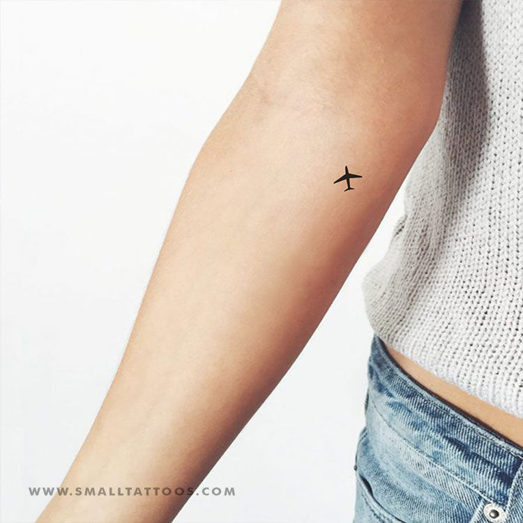 Tiny Airplane Temporary Tattoo (Set of 4) – Small Tattoos