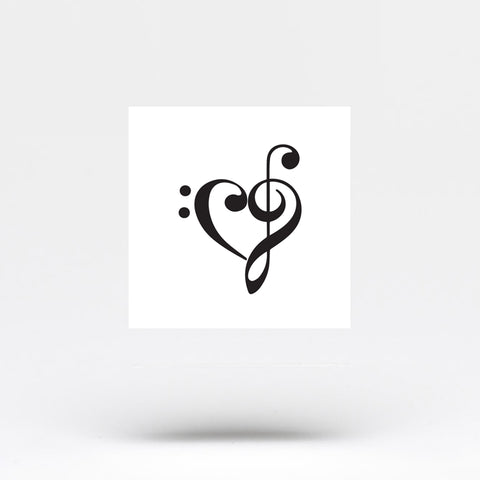 Small Music Heart Temporary Tattoo (Set of 3)