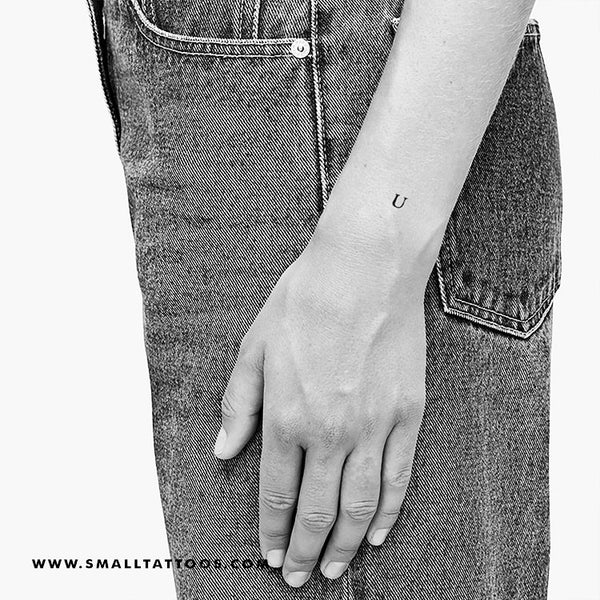 U Uppercase Serif Letter Temporary Tattoo (Set of 3)