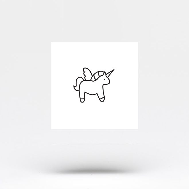 Minimalist Unicorn Temporary Tattoo (Set of 3)
