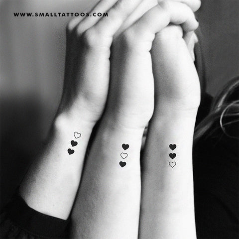 Vertical Matching Hearts Temporary Tattoo (Set of 3x2)