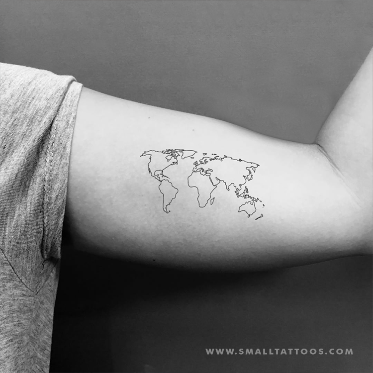 World map tattoo temporary tattoo set of 3 small tattoos world map tattoo temporary tattoo set of 3 gumiabroncs Gallery