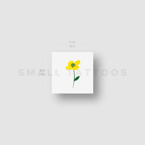 Small Yellow Flower Temporary Tattoo by Zihee (Set of 3)