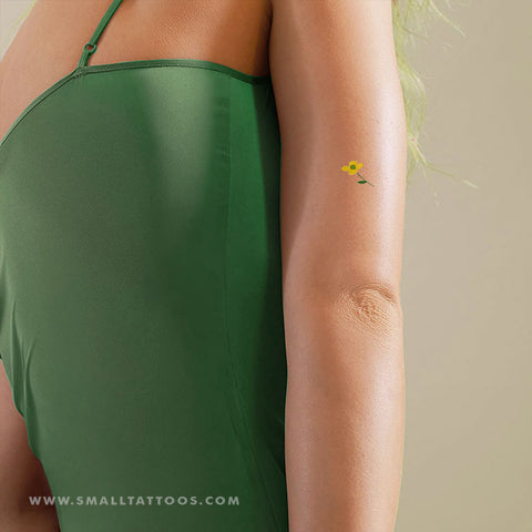 Small Yellow Flower Temporary Tattoo by Zihee (Set of 2)