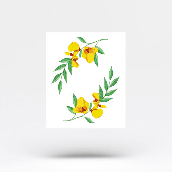 Yellow Flower Temporary Tattoo by Zihee (Set of 3)