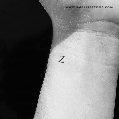 Z Uppercase Serif Letter Temporary Tattoo (Set of 3)