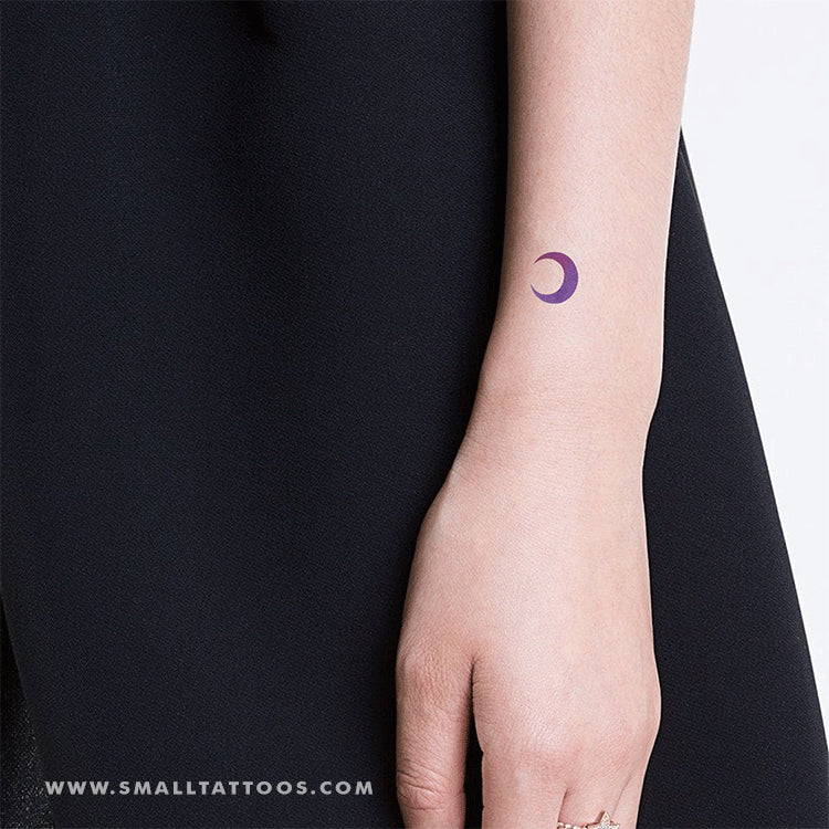 Purple and Pink Crescent Moon Temporary Tattoo by Zihee (Set of 2)