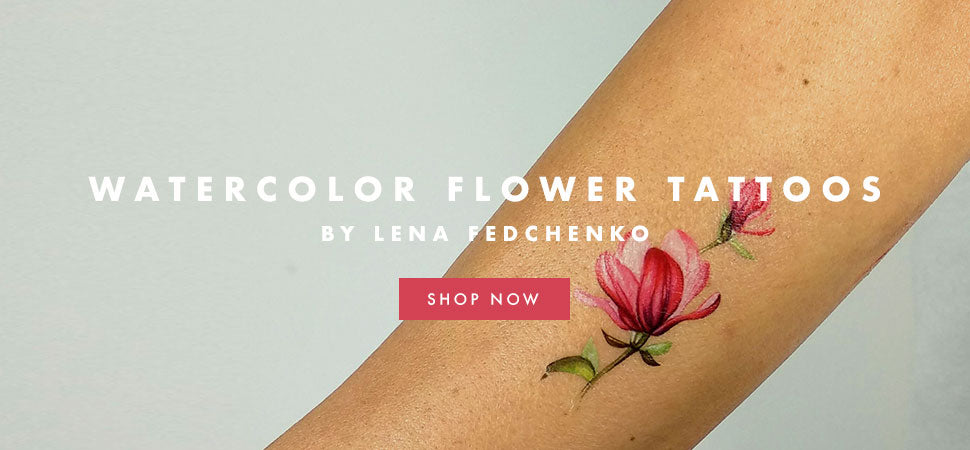 Floral temporary tattoos by Lena Fedchenko