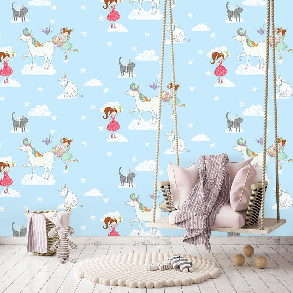 Lisa & Lilly unicorn Wallpaper|Lisa & Lilly unicorn behang