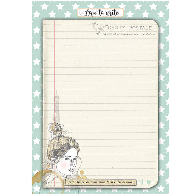 Paris girl notepad|Paris girl notitieblok