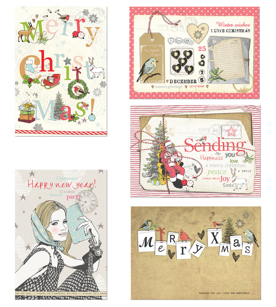 X-mas set of 5 Postcard|X-mas set van 5 Postkaart