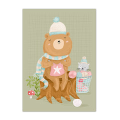 A3 Poster Knitting Bear|A3 Poster breiende beer