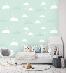 Cloud & stars Wallpaper mint|Wolkjes & sterren behang mint