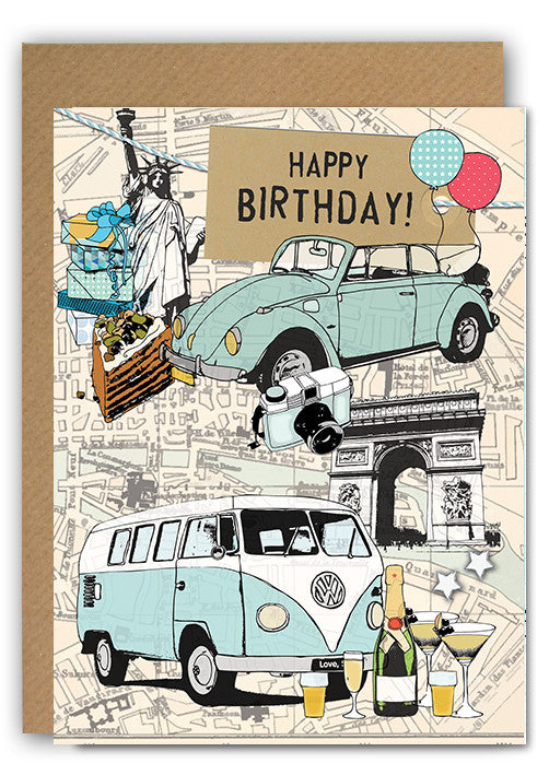 Paris & NY cars Greeting card|Paris & NY cars Wenskaart