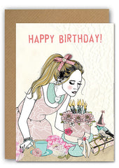 Girl with cake Greeting card|Girl with cake Wenskaart