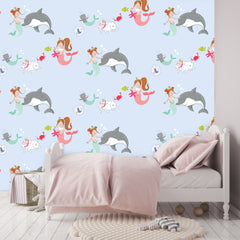 Mermaid Wallpaper blue|Zeemeermin behang blauw