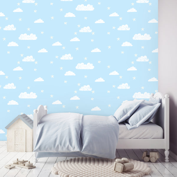 Cloud Wallpaper blue|Wolkjes behang blauw
