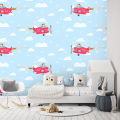 Airplane Wallpaper blue|Vliegtuig behang blauw