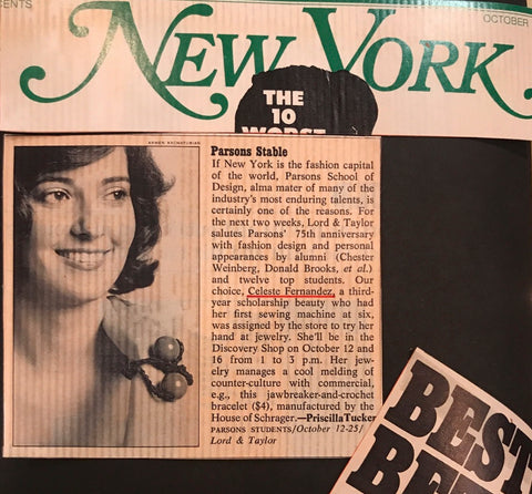 Designer Profile - Celeste Fernandez (early newspaper clipping)