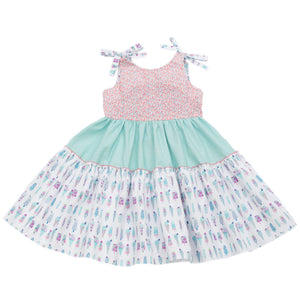MyTwirl Dress 3/4 / Mint Green Lucy Coral/Mint twirly dress