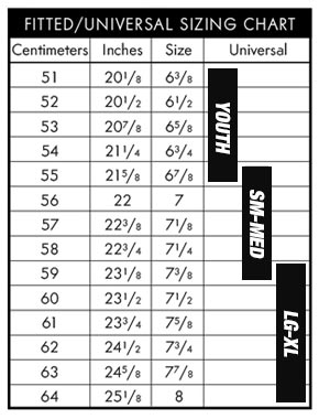 Pacific Headwear Sizing Chart