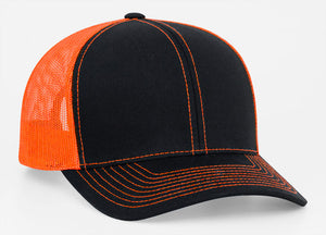 Black/Neon Orange Pacific 104C Trucker Mesh