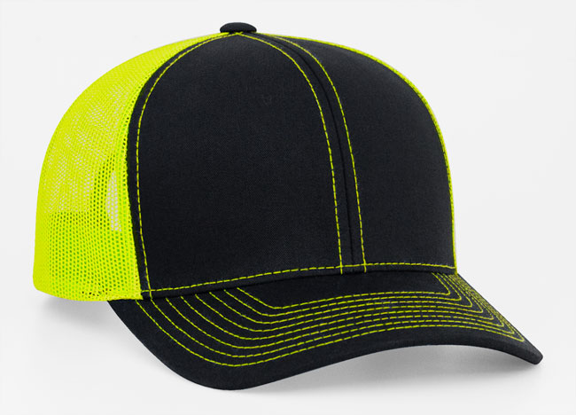 Black/Neon Yellow Pacific 104C Trucker Mesh