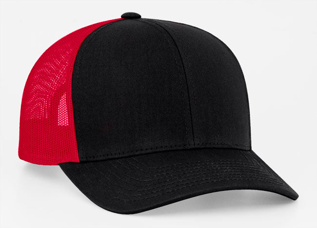 Black/Red Pacific 104C Trucker Mesh