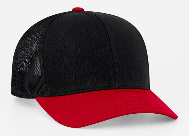 Black/Red/Black Pacific 104C Trucker Mesh
