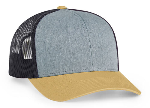Heather Grey/Light Charcoal/Amber Gold Pacific 104C Trucker Mesh