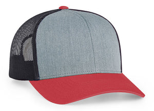 Heather Grey/Light Charcoal/Varsity Red Pacific 104C Trucker Mesh