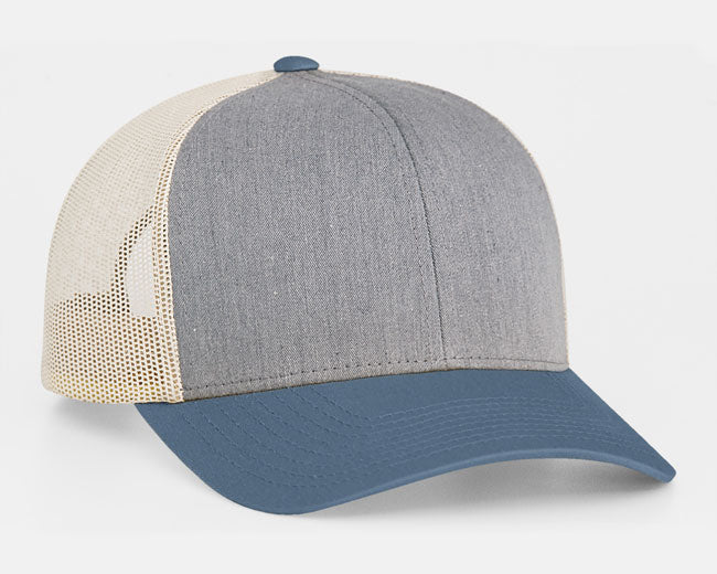 Heather Grey/Ocean Blue/Beige Pacific 104C Trucker Mesh