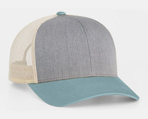 Heather Grey/Smoke Blue/Beige Pacific 104C Trucker Mesh