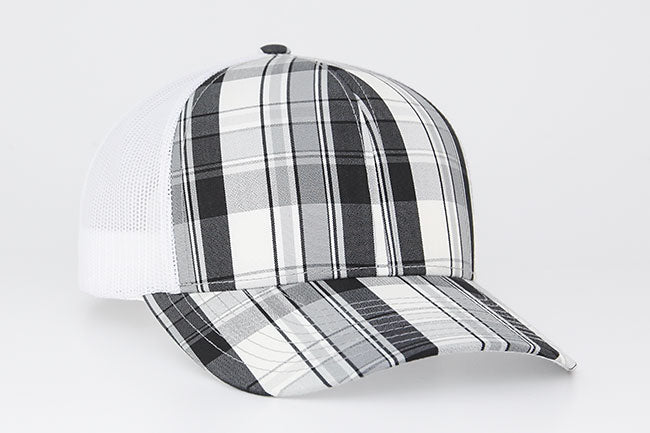 Black Pacific 109C Plaid Trucker Mesh