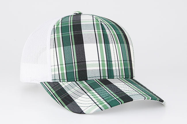 Dark Green/White Pacific 109C Plaid Trucker Mesh