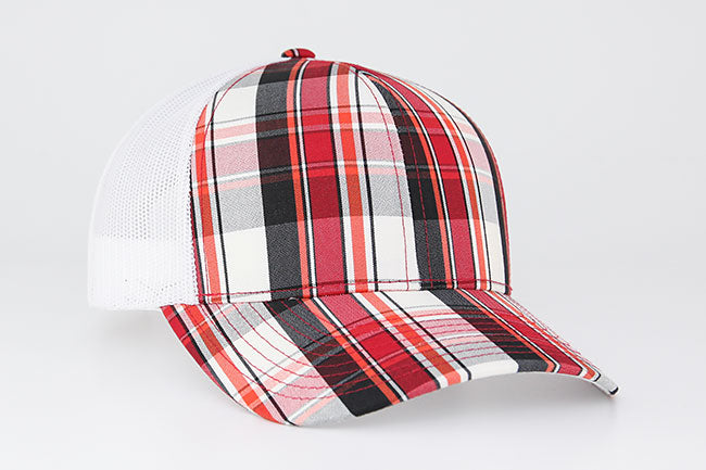 Red/White Pacific 109C Plaid Trucker Mesh