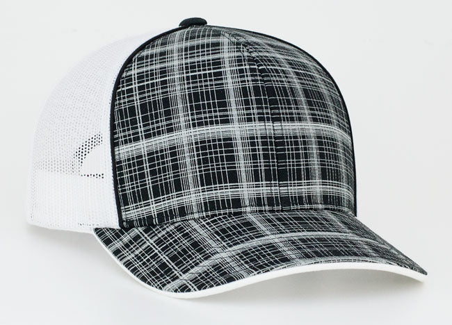 Black/White Pacific 111C Crosshatch Trucker