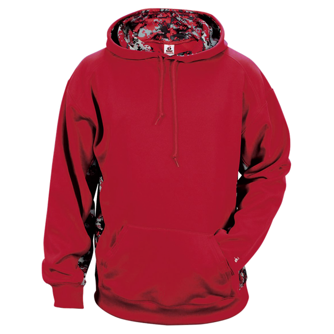 Red/Red Badger 2464 Digital Colorblock Youth Hood
