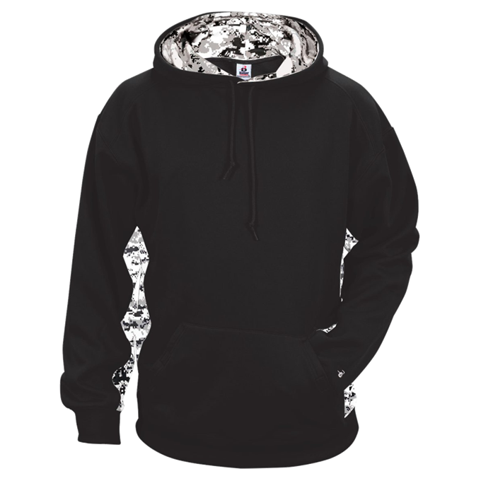 Black/White Badger 2464 Digital Colorblock Youth Hood
