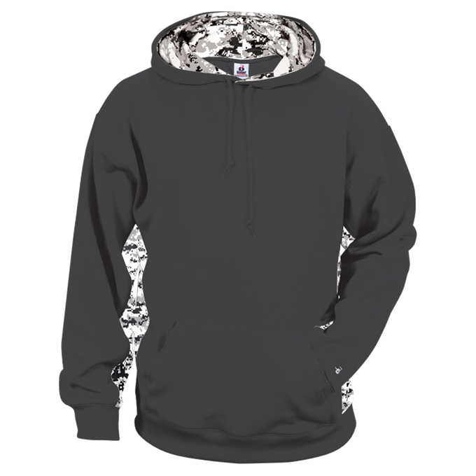 Graphite/White Badger 2464 Digital Colorblock Youth Hood