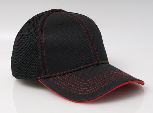 Black/Red Pacific 355M Soft Trucker Mesh