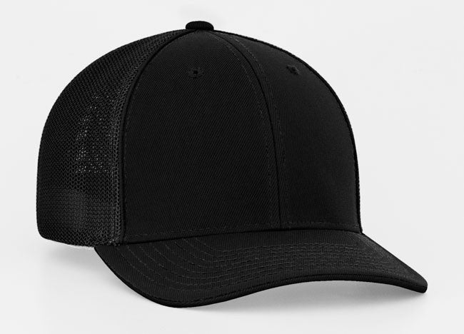 Pacific Headwear 404M Trucker Mesh Custom Baseball Caps Black/Black