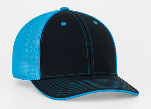 Black/Neon Blue Pacific 404M Universal Trucker Mesh Hat